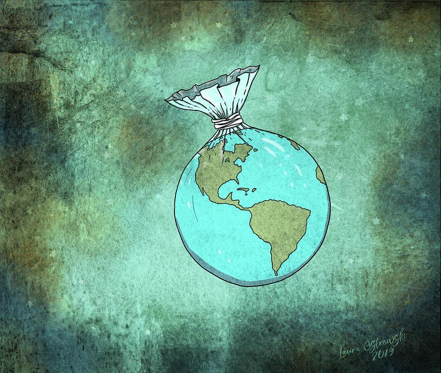 Earth Digital Art - Plastic Planet by Laura Ostrowski