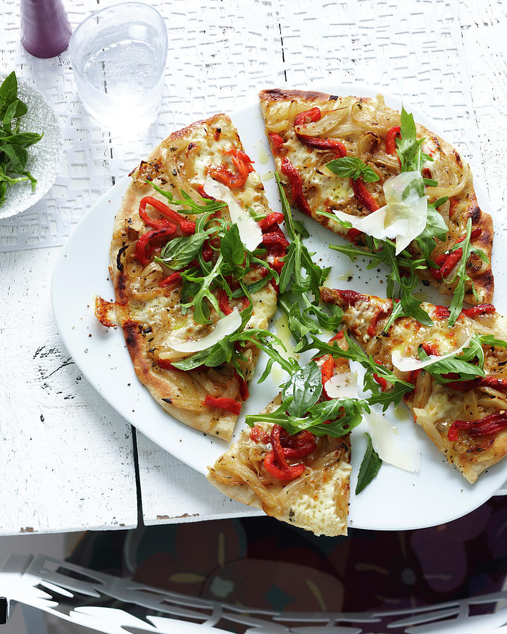 Plate Of Sliced Wholemeal Pizza With Photograph by Brett Stevens