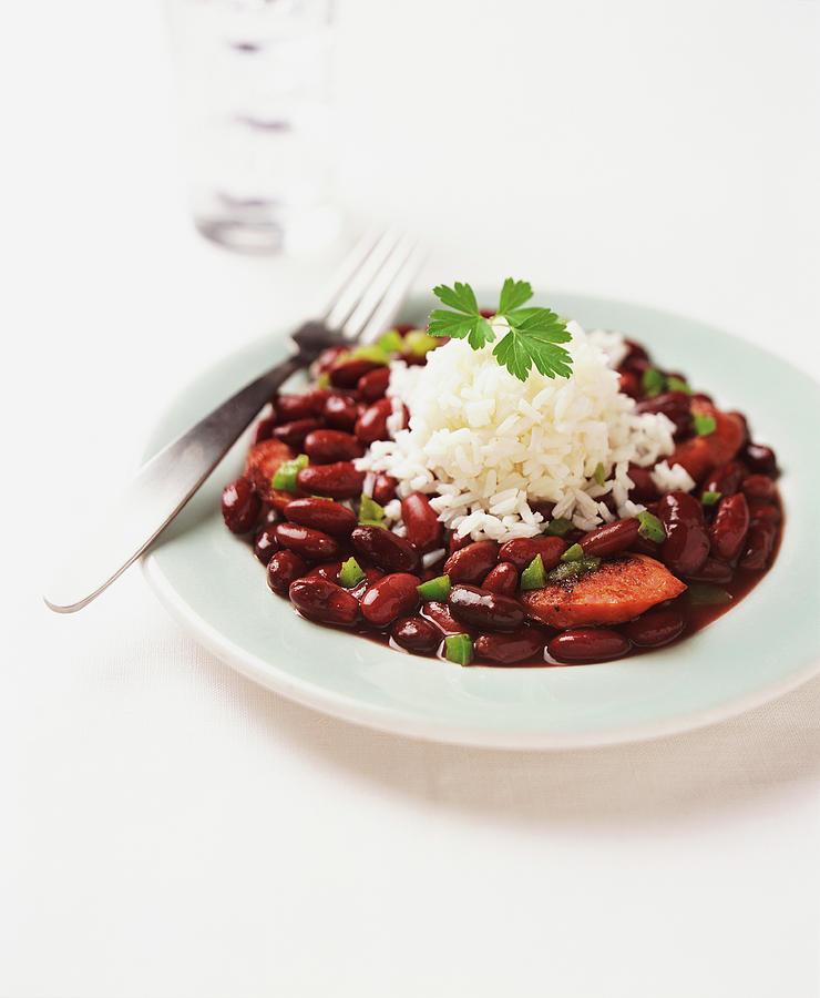 Plate With Chorizo, Red Kidney Beans Photograph by Groesbeck/uhl