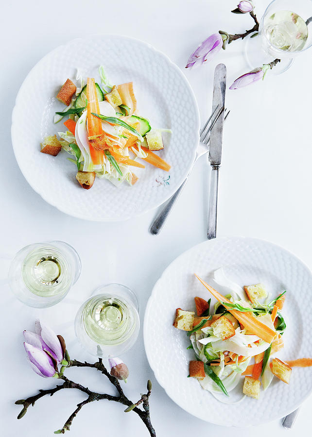 Plates Of Pasta With Vegetables Photograph by Line Klein