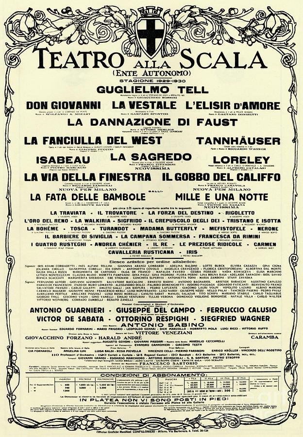 Beige Drawing - Playbill Poster For For La Scala, 1929-1930 Season by Italian School