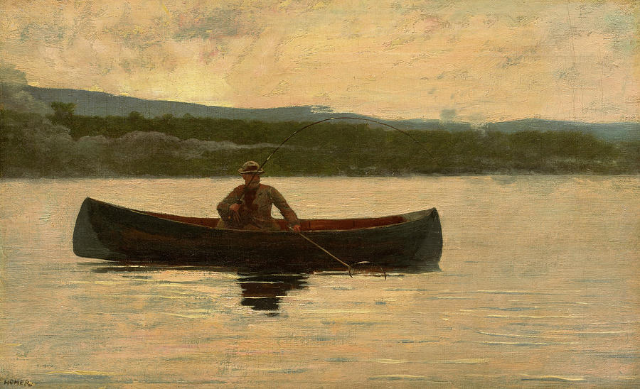 Winslow Homer Painting - Playing A Fish, 1875 by Winslow Homer