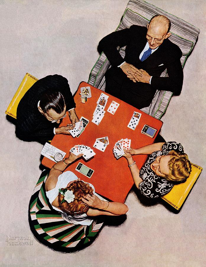 Bridge Drawing - Playing Cards by Norman Rockwell