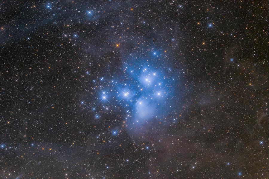 Stars Photograph - Pleiades Star Cluster by Bartosz Wojczynski