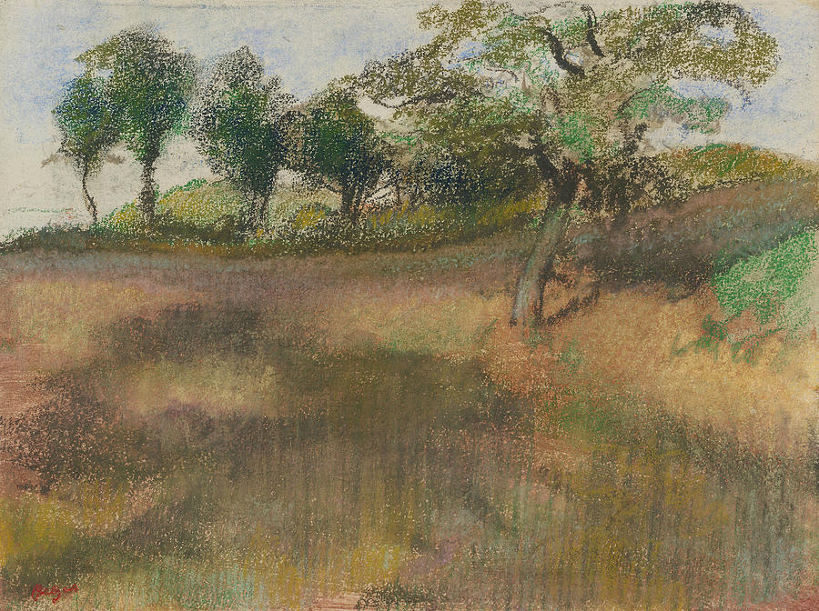 French Painters Pastel - Ploughed Field Bordered By Trees by Edgar Degas