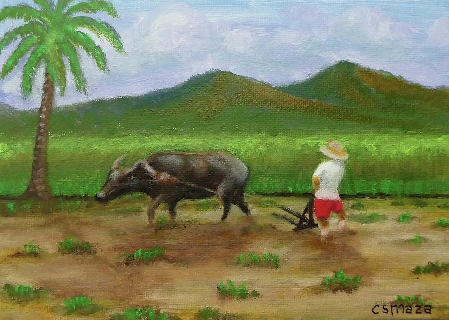 Plowing Rice Field by Cyril Maza