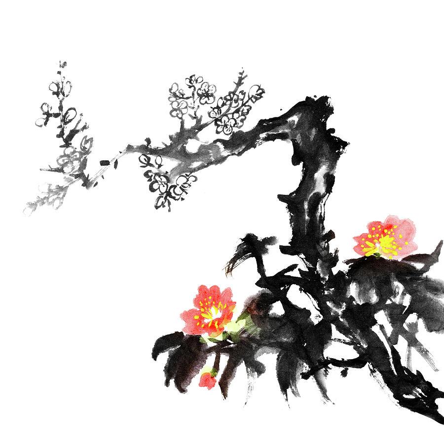 Plum Blossom Flowers Digital Art by Vii-photo