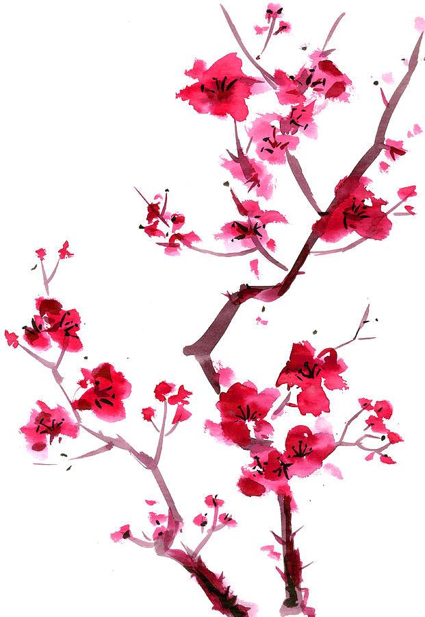 Plum Blossom Painting Digital Art by Kaligraf