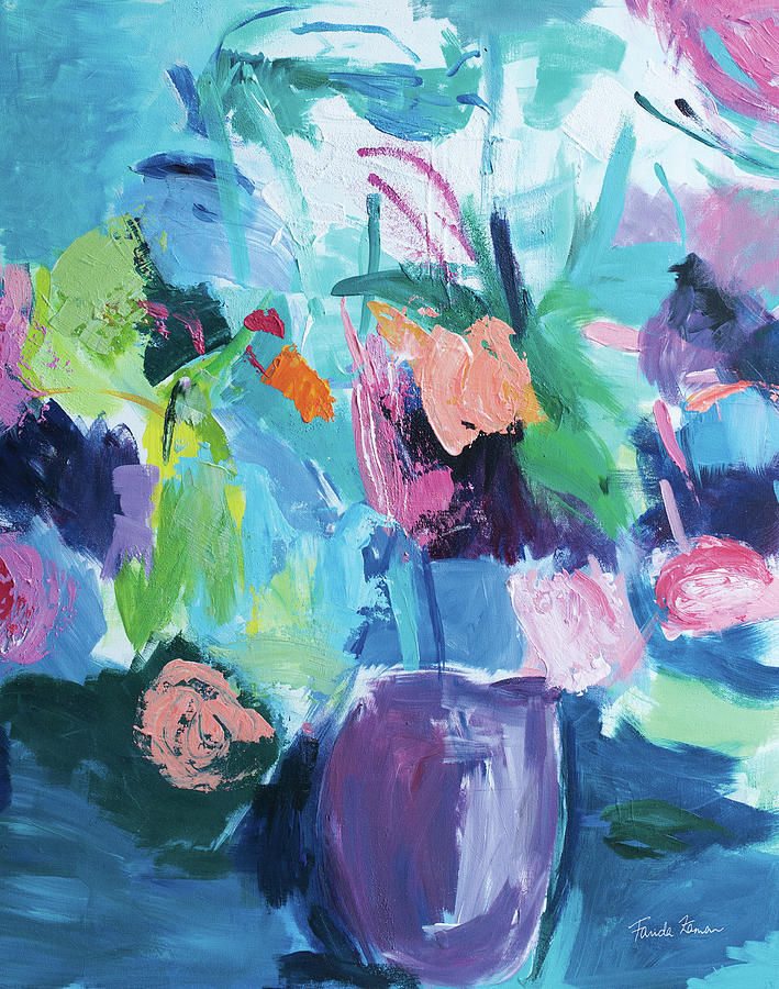 Abstract Painting - Plum Floral Abstract by Farida Zaman