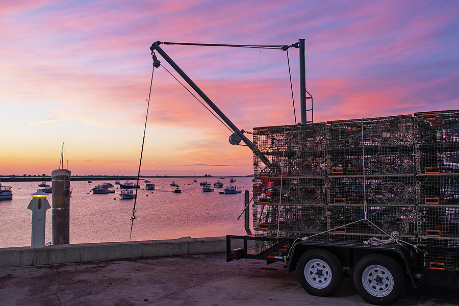 Plymouth MA Sunrise Red Sky Lobster Trap Truck by Toby McGuire