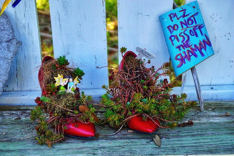 Red Shoes Photograph - Plz, Do Not Piss Off The Shaman by Patricia Greer