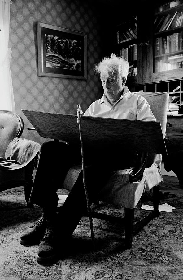 Poet Robert Frost Writing At Home Photograph by Alfred Eisenstaedt