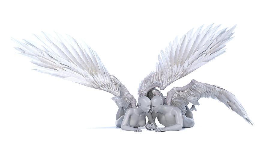 Angel Digital Art - Poetic Love by Betsy Knapp