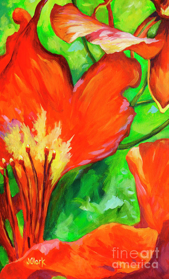 Poinciana Painting - Poinciana Bract  by John Clark