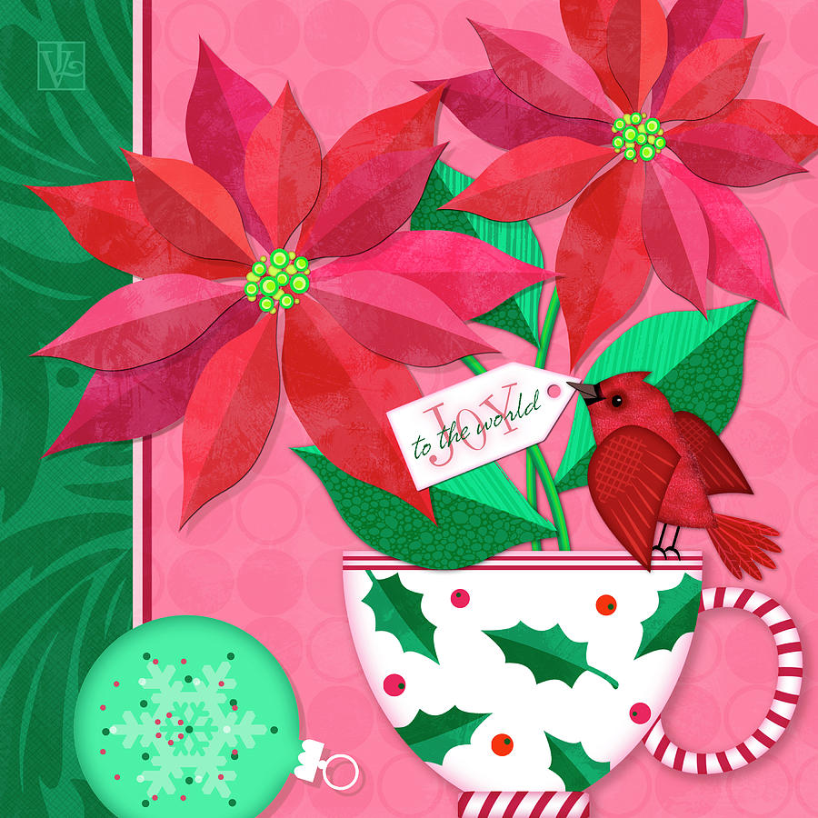 Poinsettia in Christmas Cup by Valerie Drake Lesiak