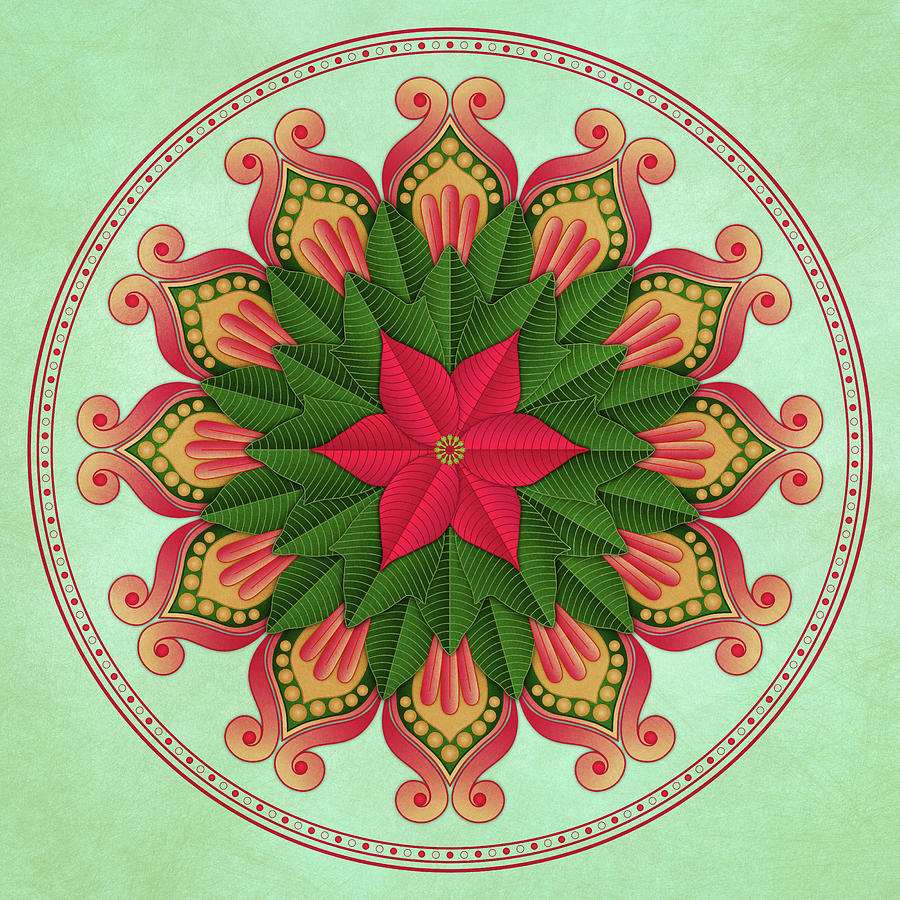 Poinsettia Mandala by Debi Dalio