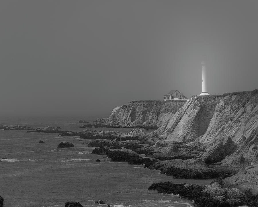 Point Arena Lighthouse in the Fog BW by TL Wilson Photography by Teresa Wilson
