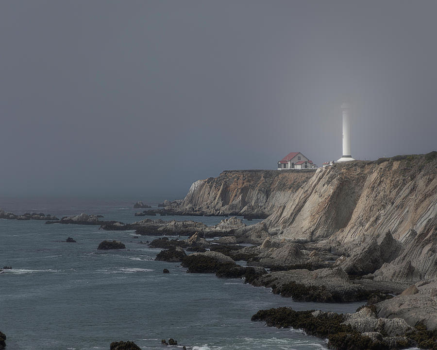 Point Arena Lighthouse in the Fog by TL Wilson Photography by Teresa Wilson
