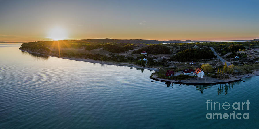 Lake Michigan Photograph - Point Betsie Lighthouse Aerial Panorama by Twenty Two North Photography