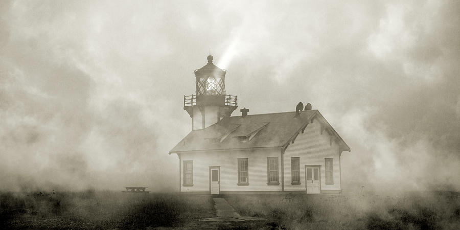 Lighthouse Photograph - Point Cabrillo Lighthouse California Sepia by Betsy Knapp