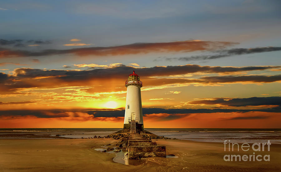 Lighthouse Photograph - Point Of Ayr Lighthouse Sunset by Adrian Evans