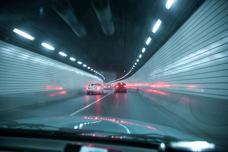 Point Of View Out Front Of Car In Tunnel Photograph by Grant Faint