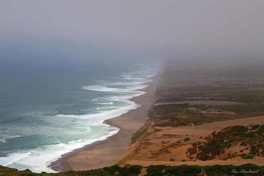 Point Reyes beaches in heavy marine layer and surf crashing on t by Timothy Pinckard