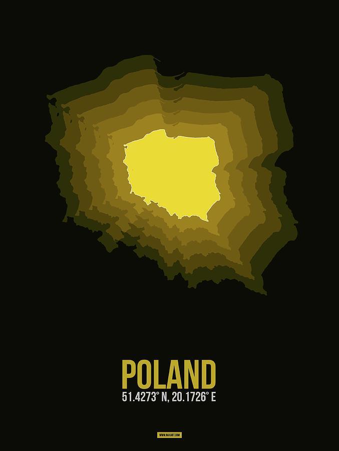 Map Of Poland Digital Art - Poland Radiant Map II by Naxart Studio
