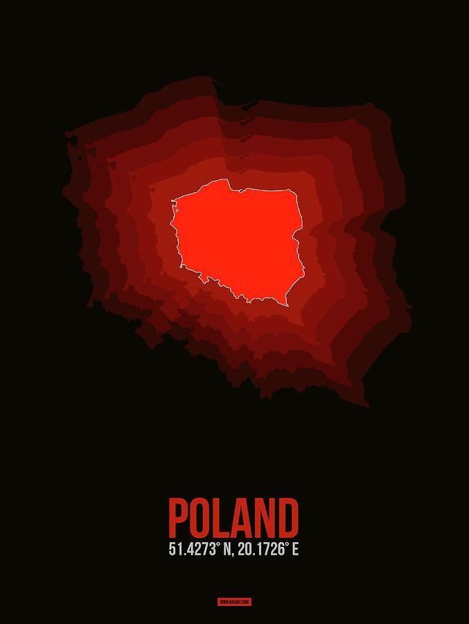 Map Of Poland Digital Art - Poland Radiant Map 3 by Naxart Studio