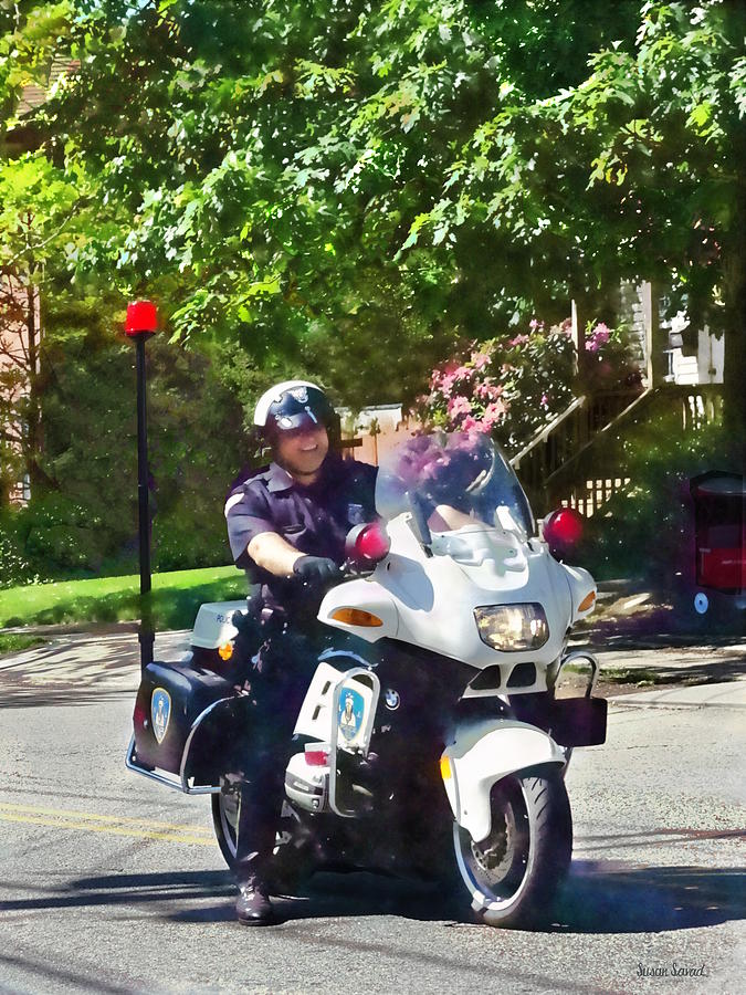 Policeman On Motorcycle by Susan Savad