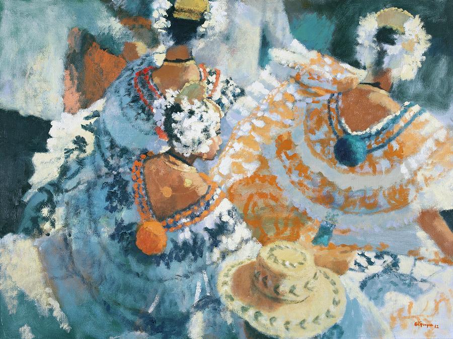 Panama Painting - Pollera En Naranja by Al Sprague