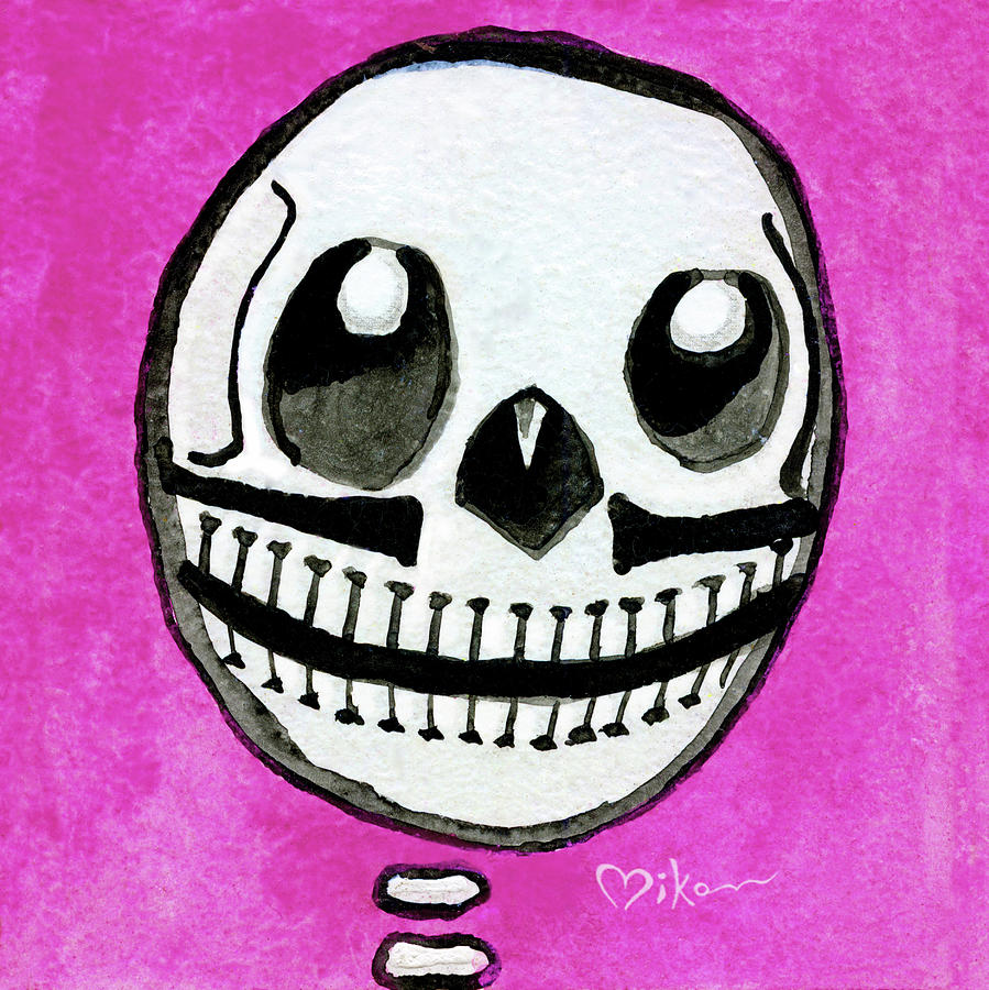 Day Of The Dead Painting - Pollito Sugarskull Of Cuteness by Miko Zen