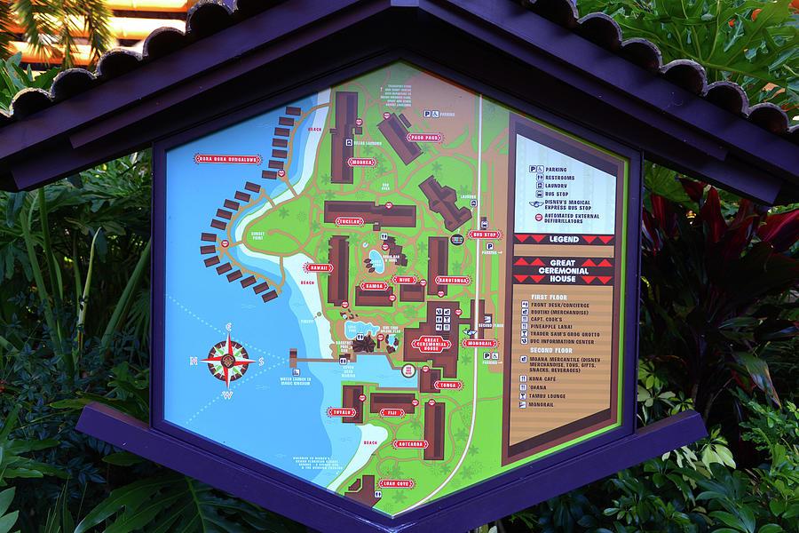 Polynesian Resort Map Photograph by David Lee Thompson