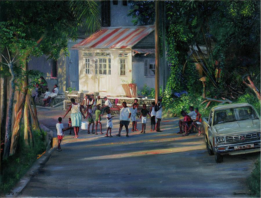Caribbean Painting - Pon Lepotek by Jonathan Guy-Gladding JAG