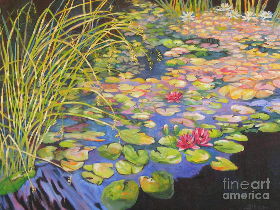 Pond Painting - Pond 3 Pond Series by Sharon Nelson-Bianco