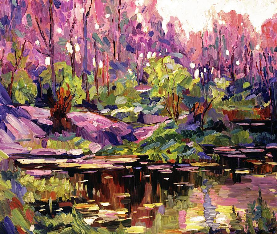POND AT SUNSET - PLEIN AIRE by David Lloyd Glover