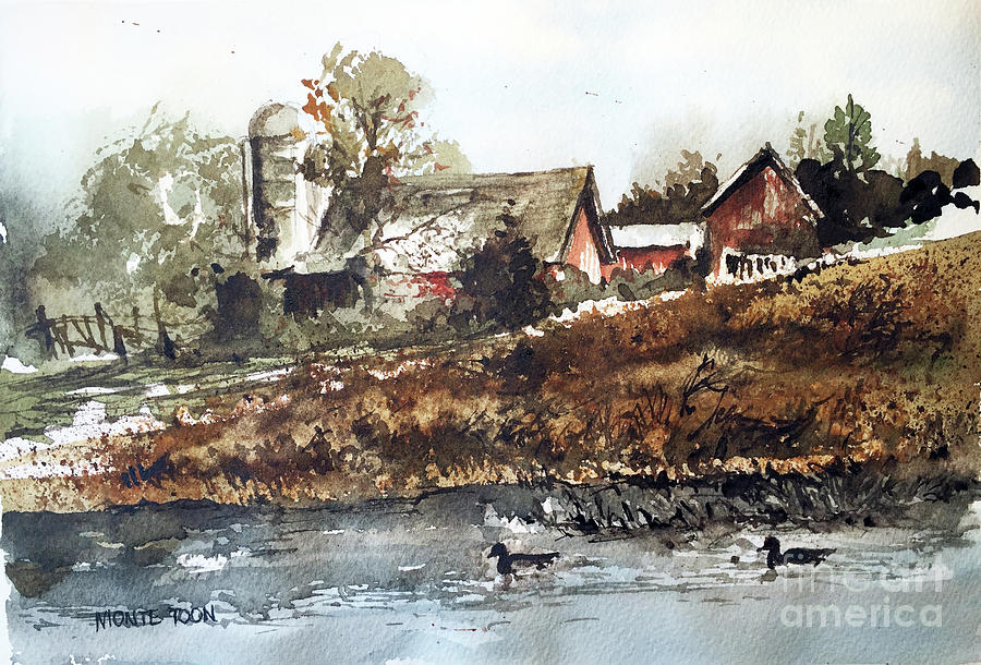 Pa. Painting - Pond Ducks by Monte Toon