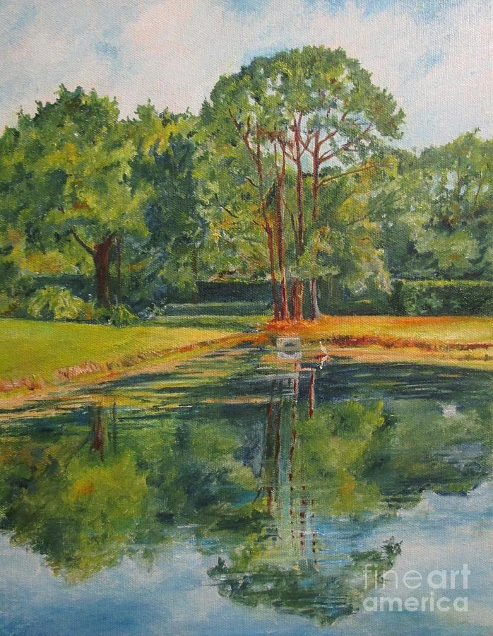 Impressionistic Landscape Painting - Pond On Sussex Way by Barbara Moak