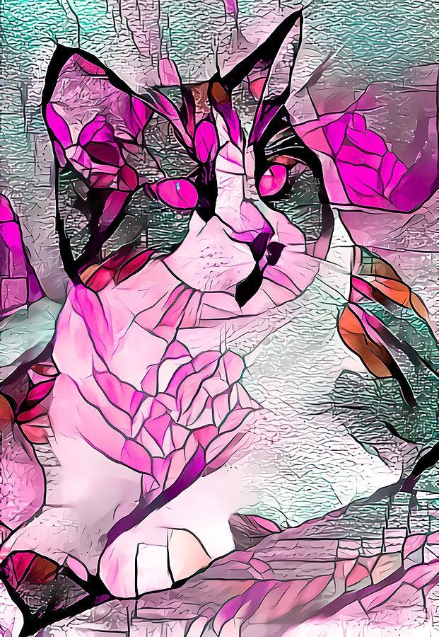 Pondering Tuxedo Cat Magenta Digital Art
