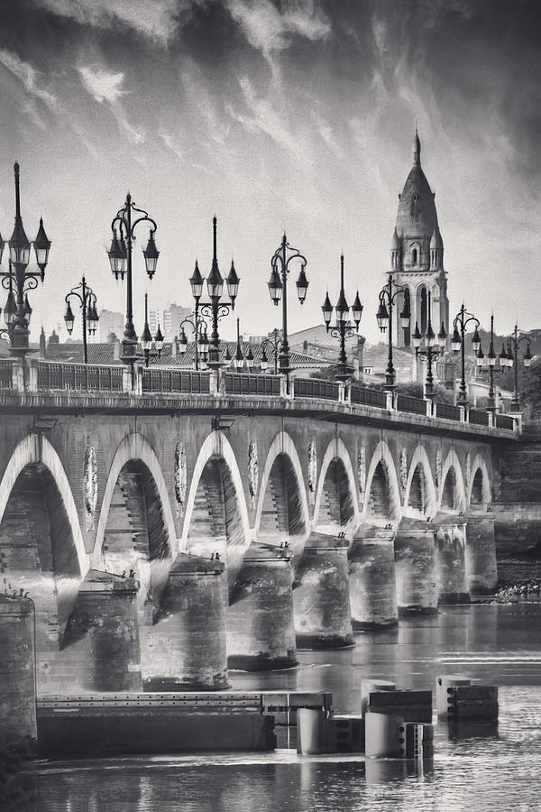 Pont De Pierre Bordeaux France Black And White Photograph