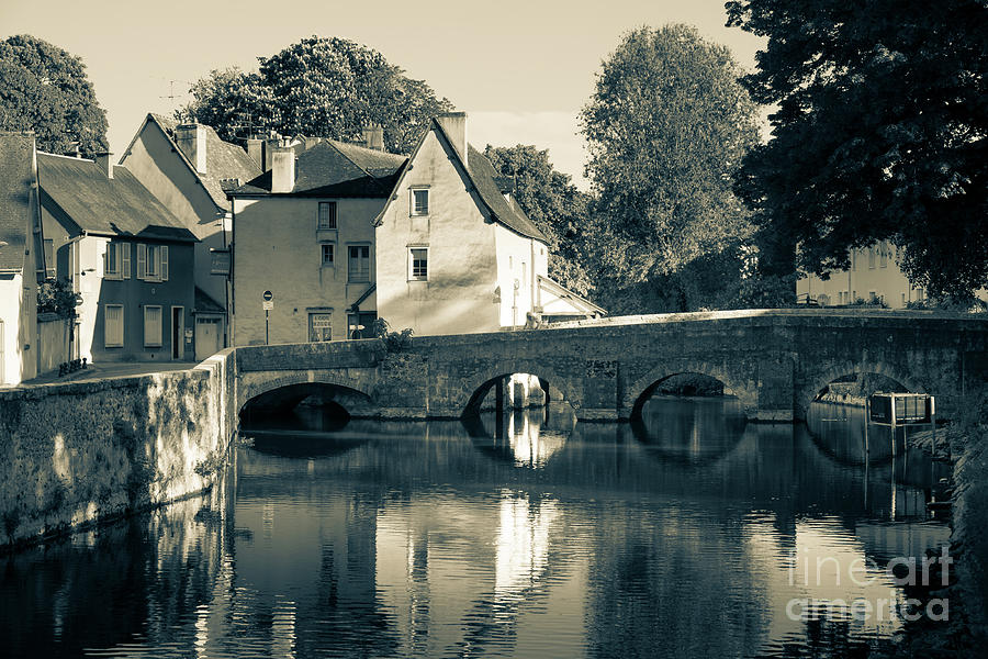 Pont des Minimes old bridge over the River Eure at Chartres Fran by Peter Noyce