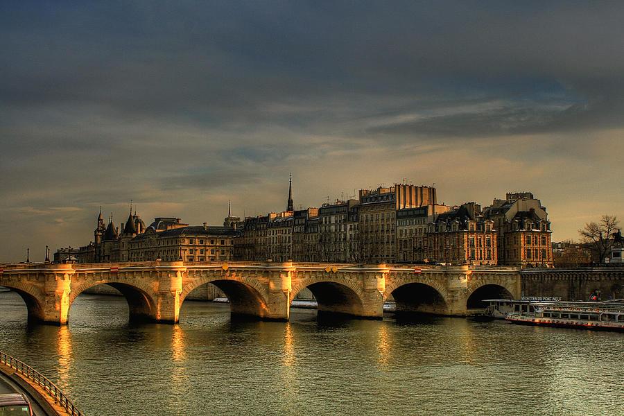 Saint Nazaire Photograph - Pont Neuf  At Sunset, Paris, France by Avi Morag Photography