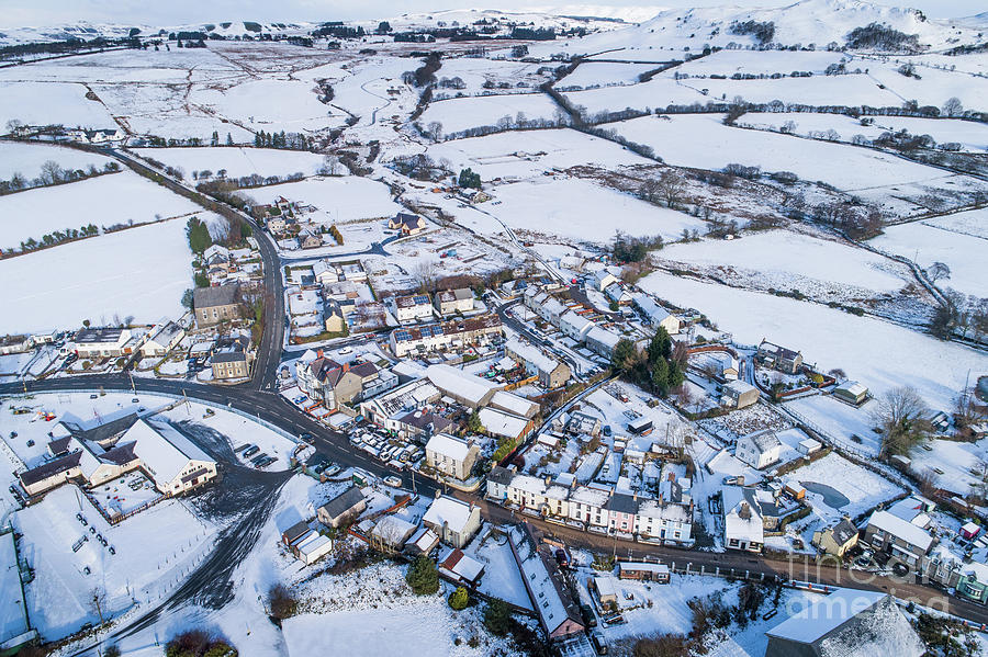 Aerial Photograph - Pontrhydfendigaid Village, Wales, In The Snow by Keith Morris