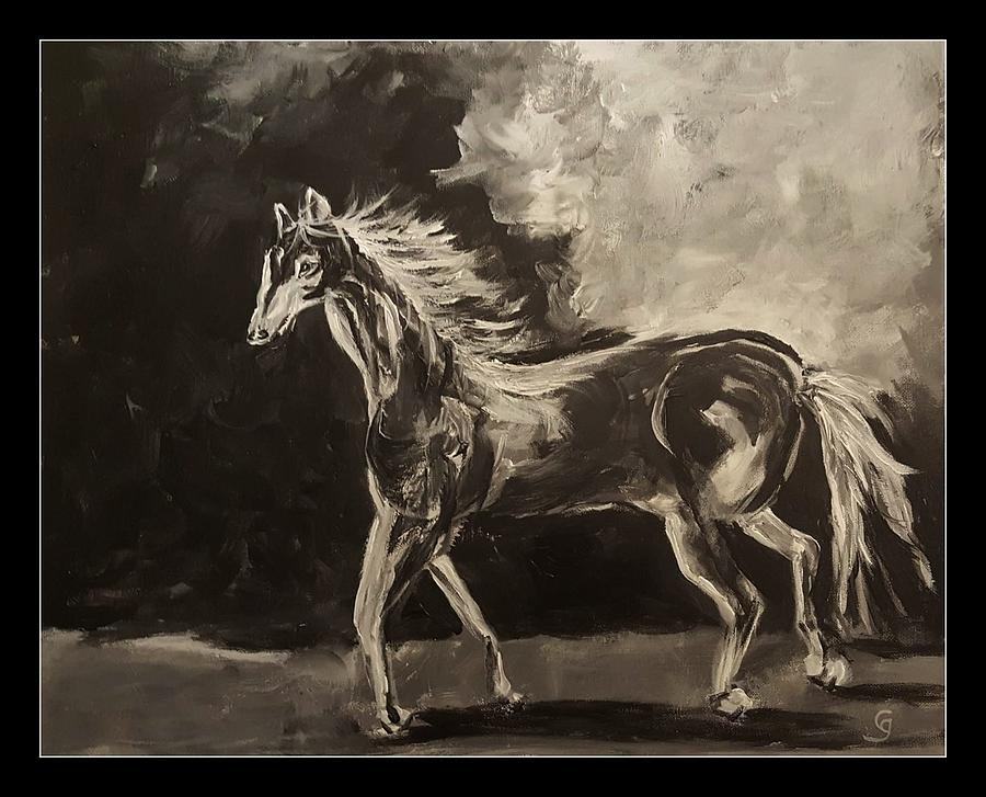 Pony Sketch in Black and White by Cheryl Nancy Ann Gordon