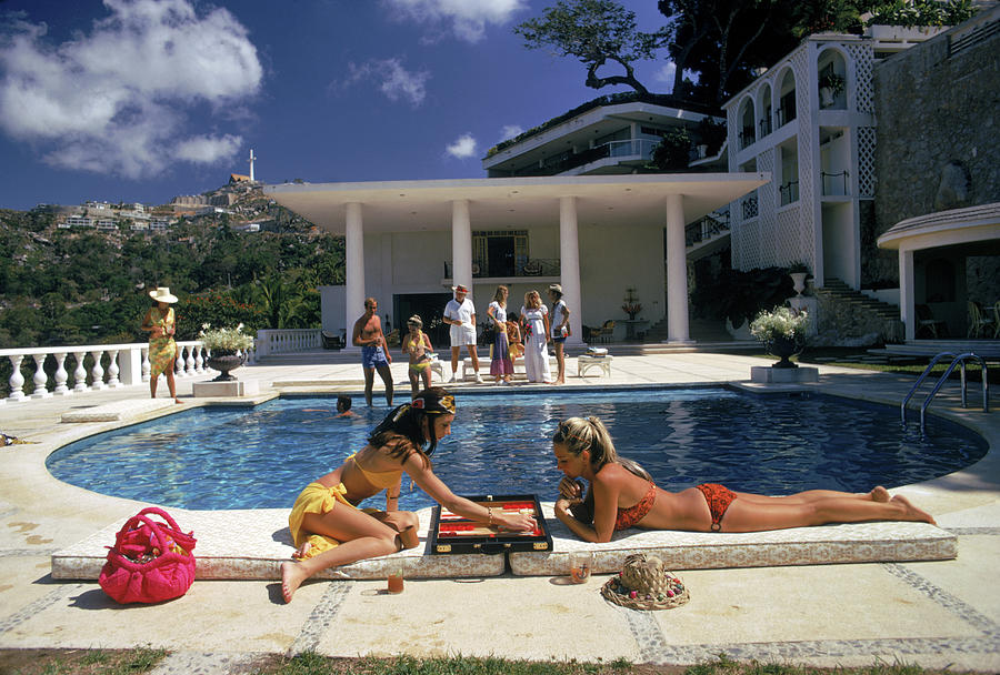 Poolside Backgammon Photograph by Slim Aarons
