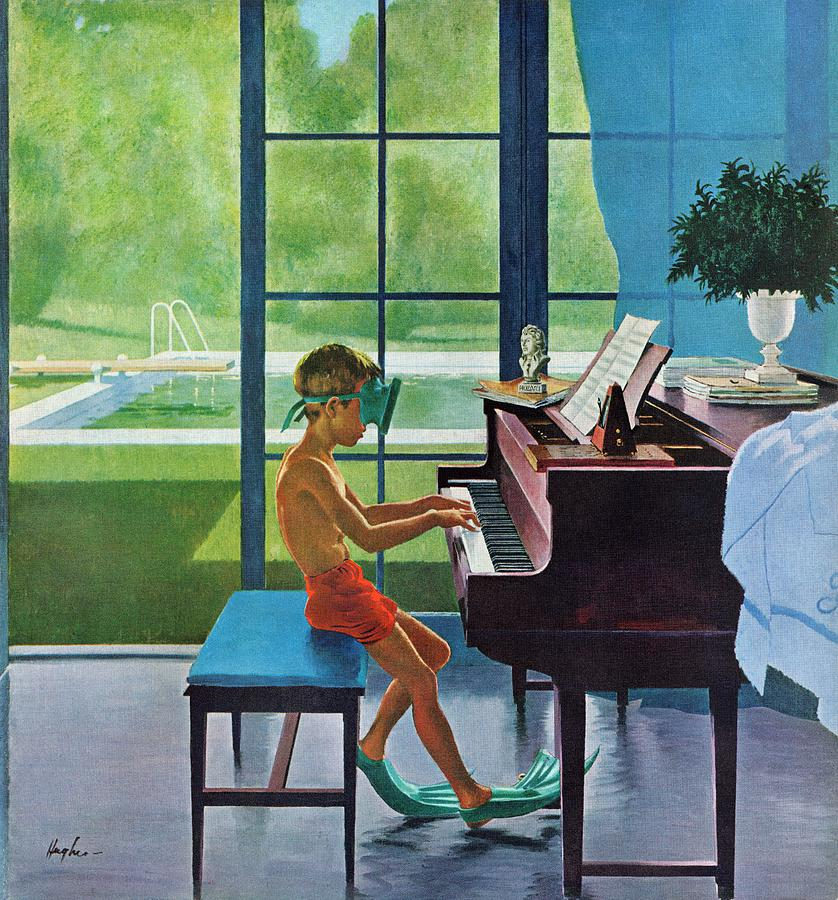 Boy Drawing - Poolside Piano Practice by George Hughes