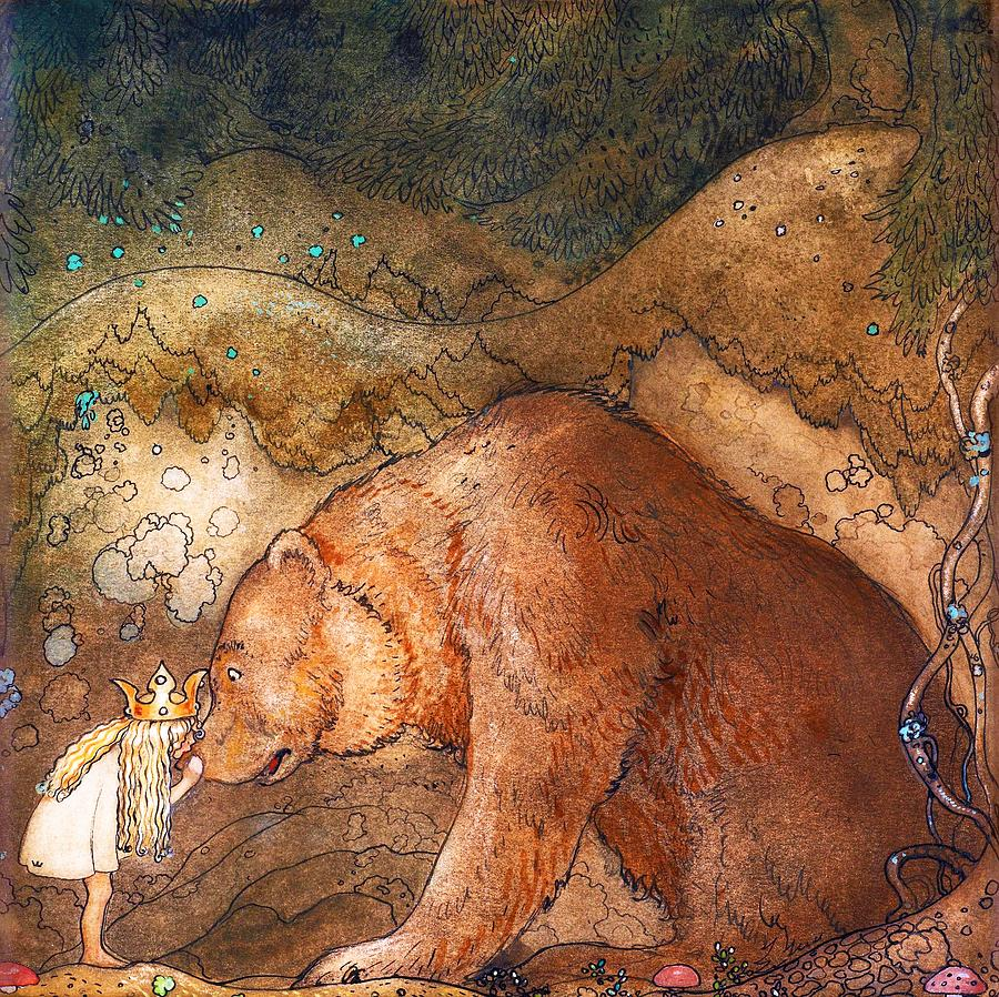 John Bauer Painting - Poor Little Bear - Digital Remastered Edition by John Bauer