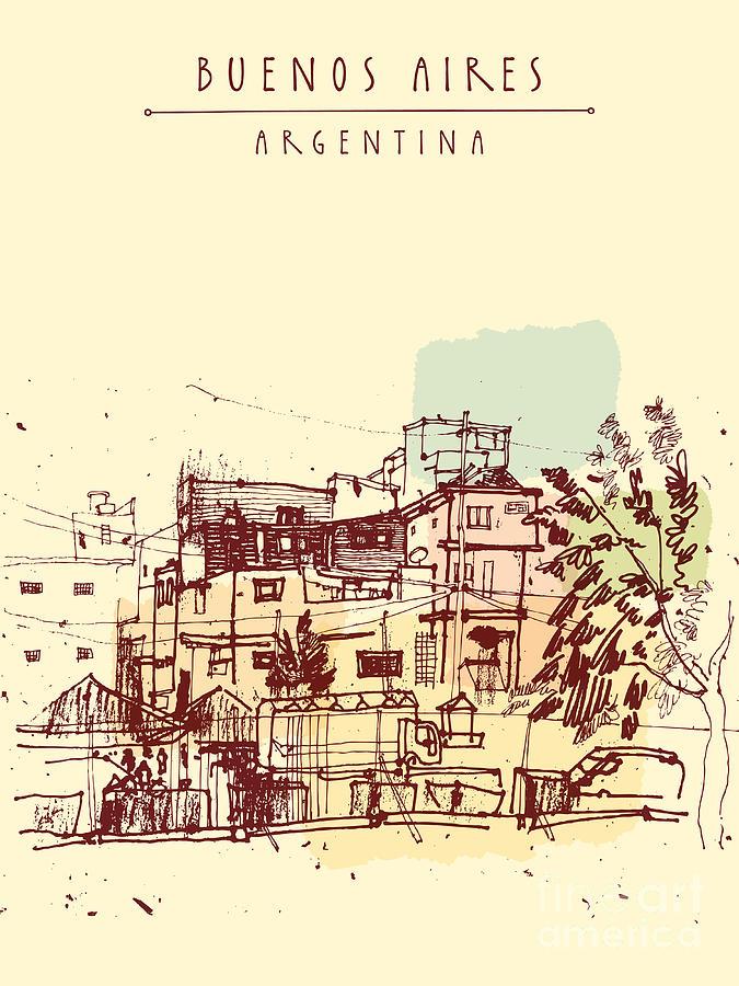 Favela Digital Art - Poor Neghborhood In Buenos Aires by Babayuka
