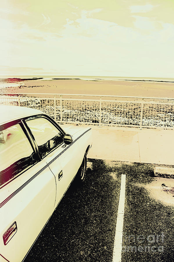 Car Photograph - Pop Art Beach Carpark  by Jorgo Photography - Wall Art Gallery