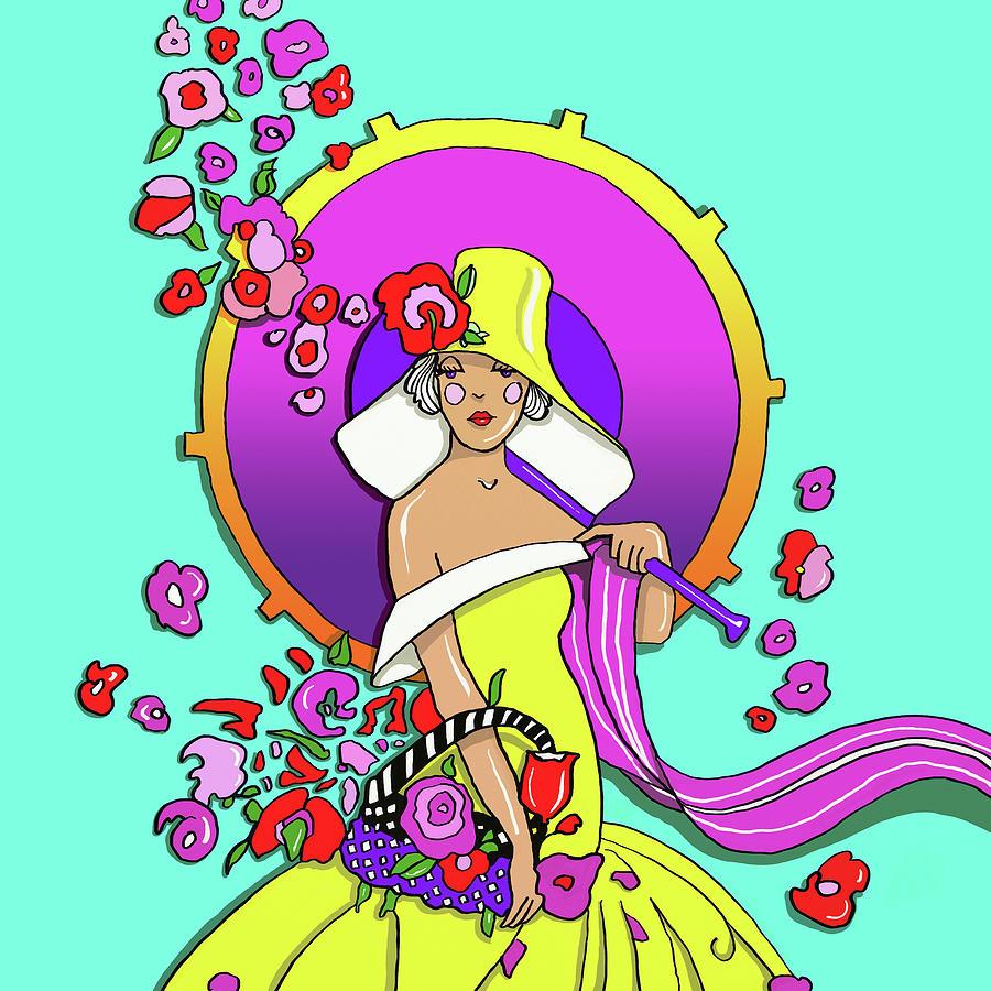 Peter Max Digital Art - Pop-art-deco-lady-217 by Howie Green